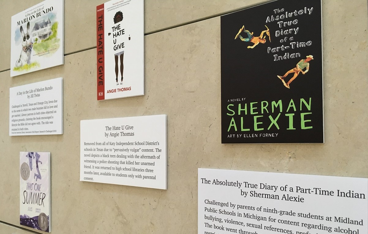 Banned books week display 2019