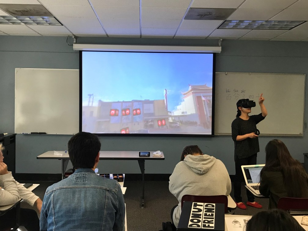Student exploring VR Chinatown project