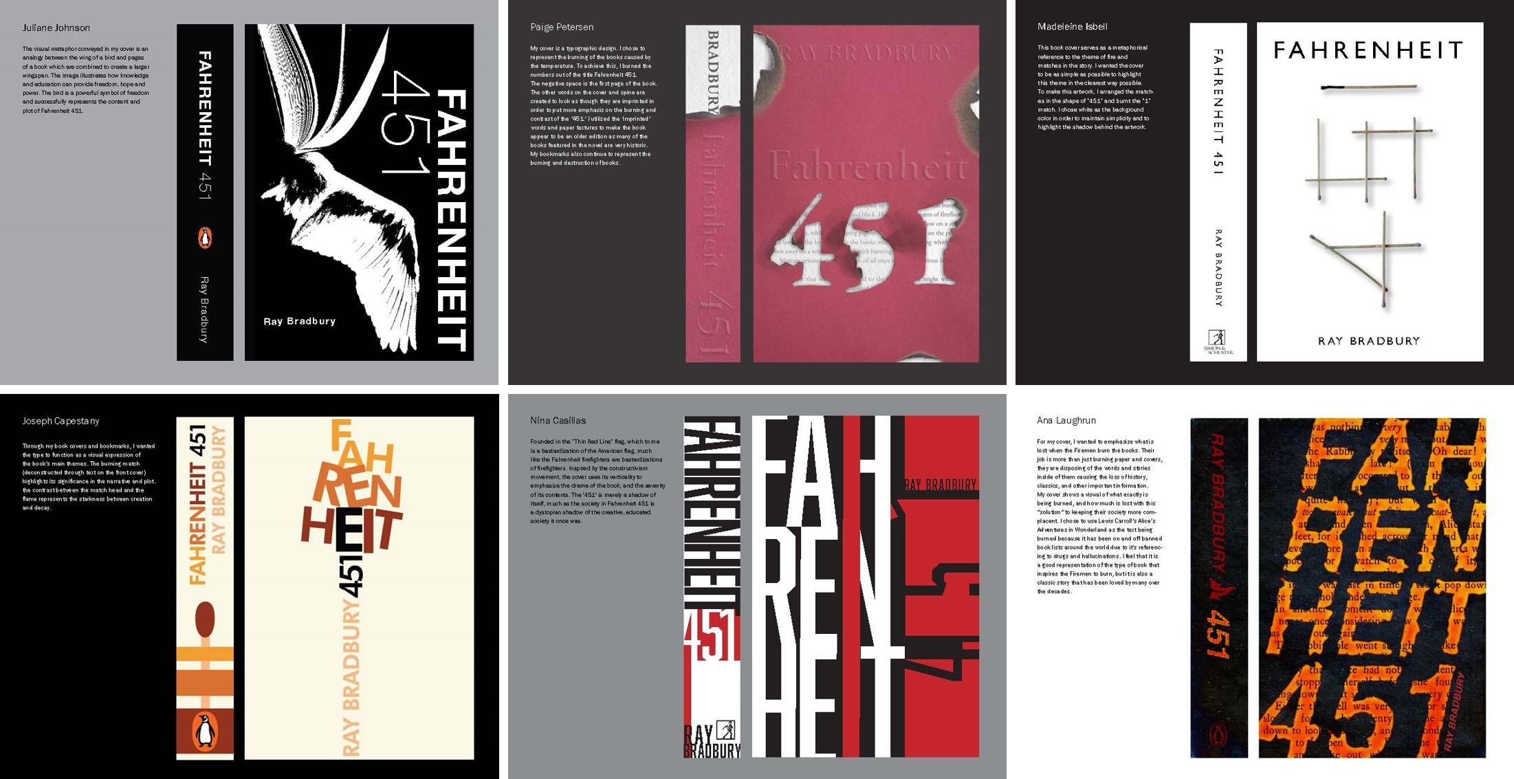 Various interpretations of Farenheit 541 cover