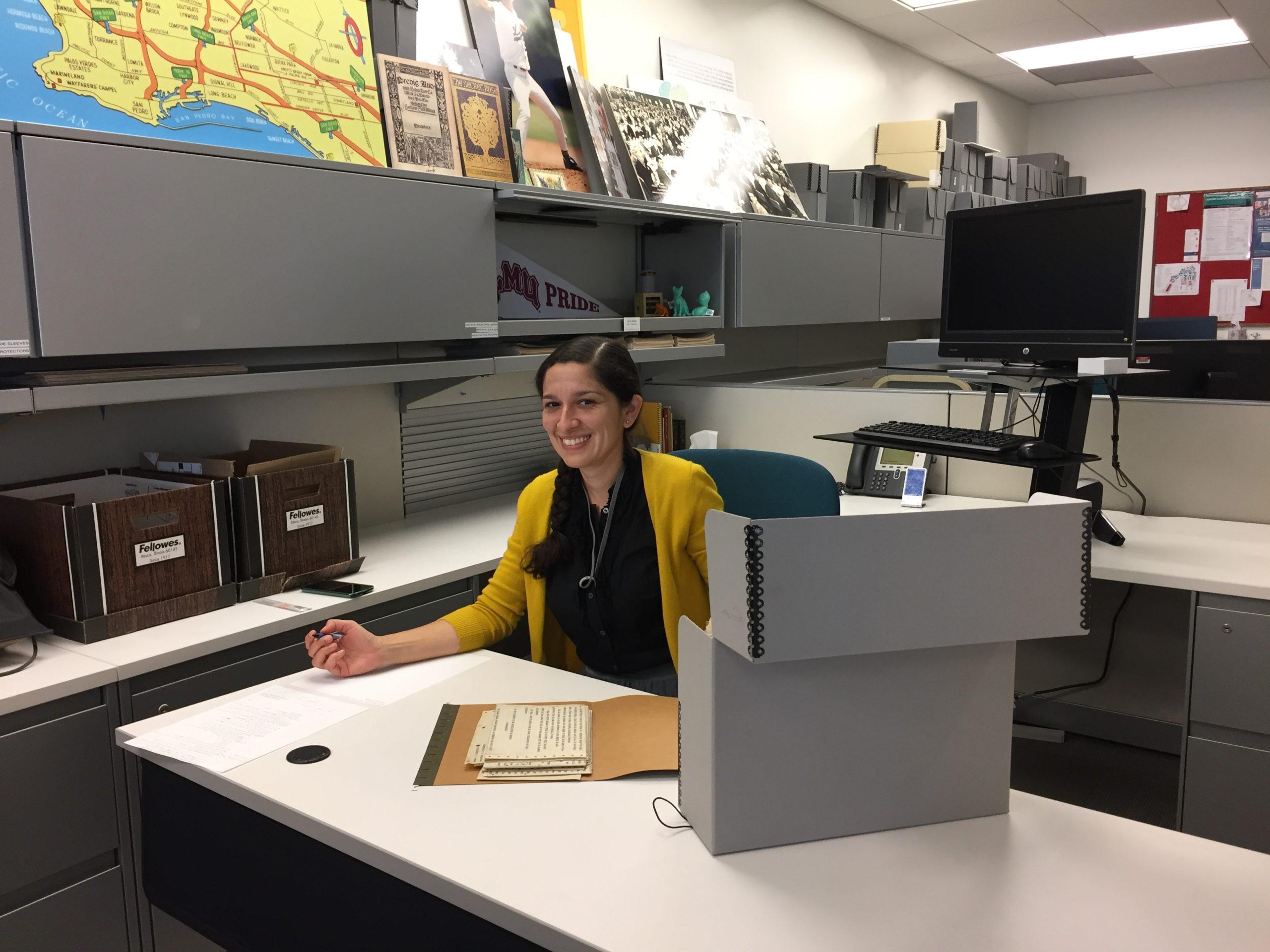 Marisa Ramirez at her desk