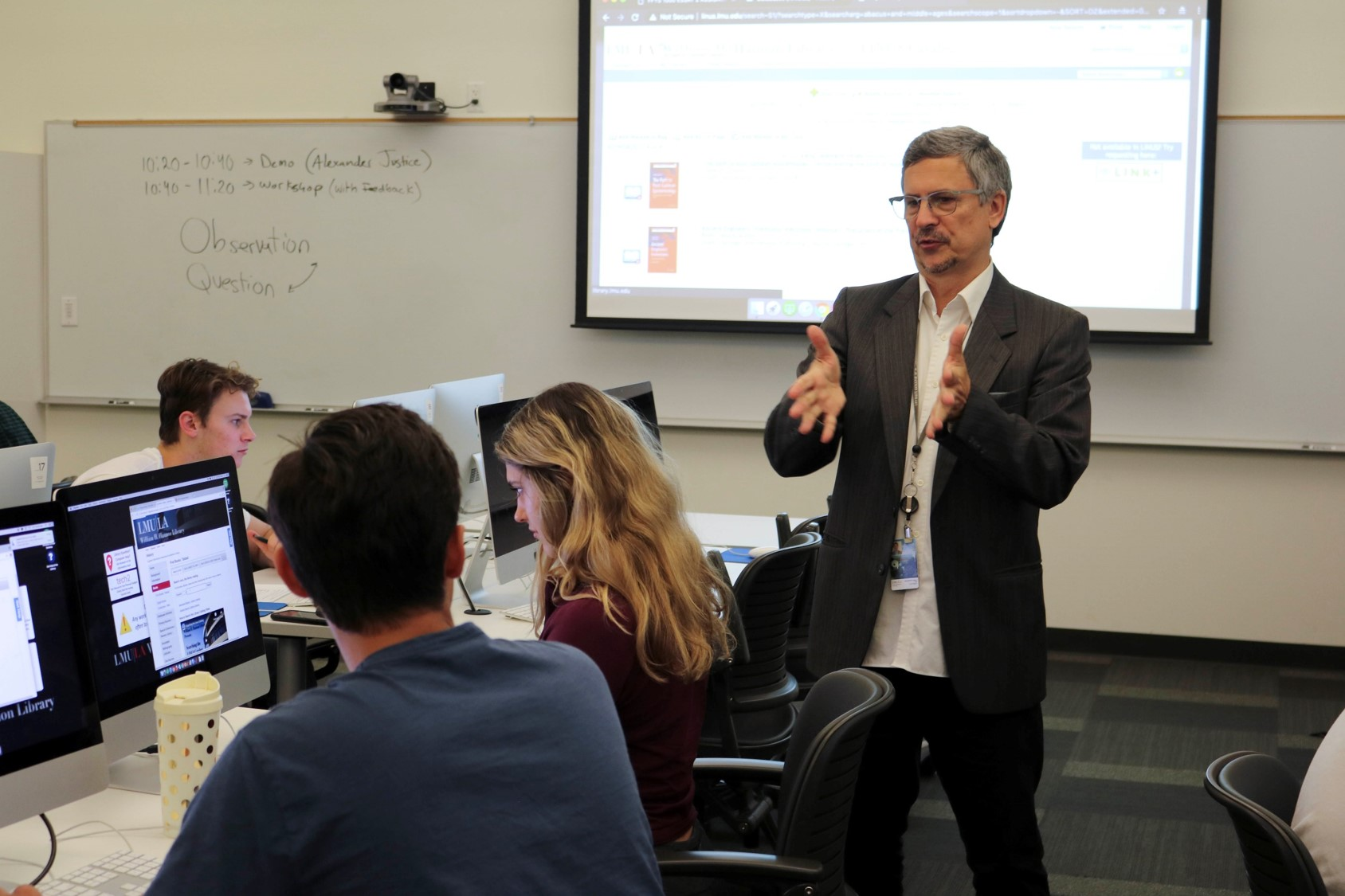 Librarian Alex Justice teaching a class