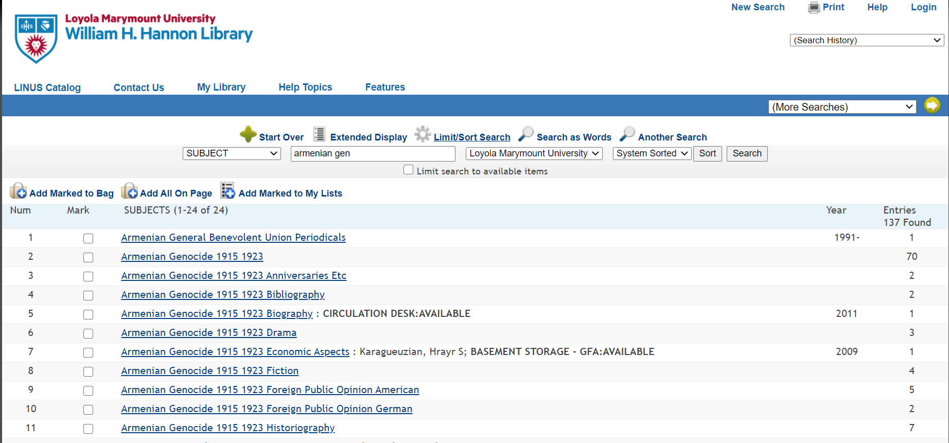 screenshot of subject headings in library catalog