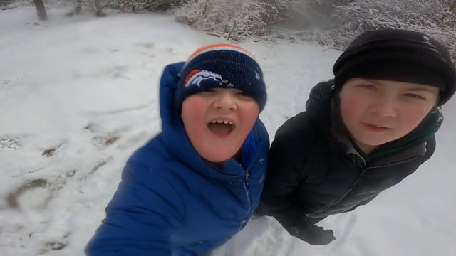 Two boys in the snow