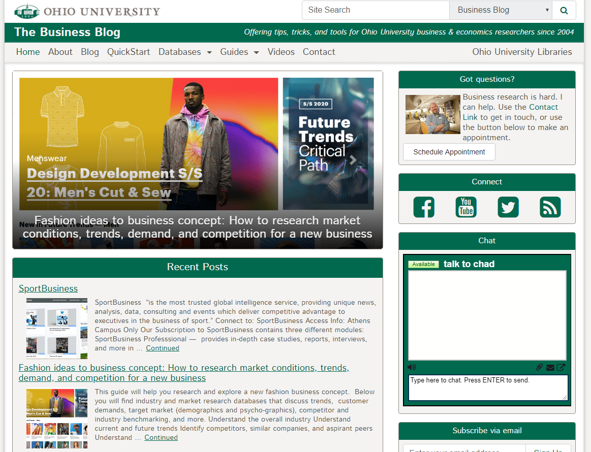 a screenshot of the Business Blog website