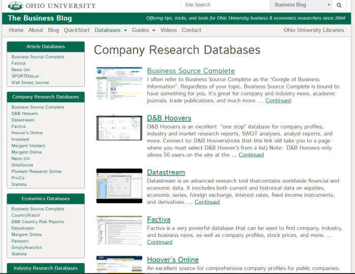 a screenshot of company research databases page