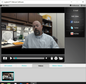 screenshot of Logitech Webcam Interface