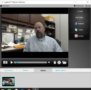 screenshot of Logitech Webcam Interface