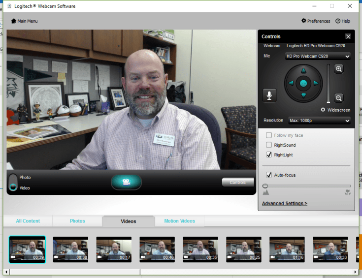 a picture of the logitech webcam recording interface