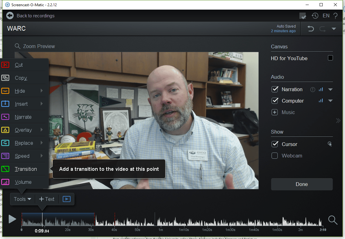 Screencast-o-matic video editor