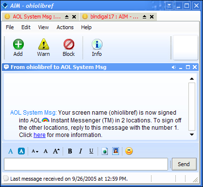 Trillian AOL Message