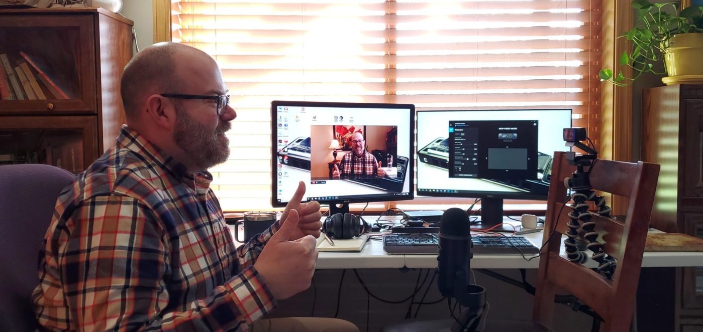 Chad is talking on camera to his webcam while shooting a video