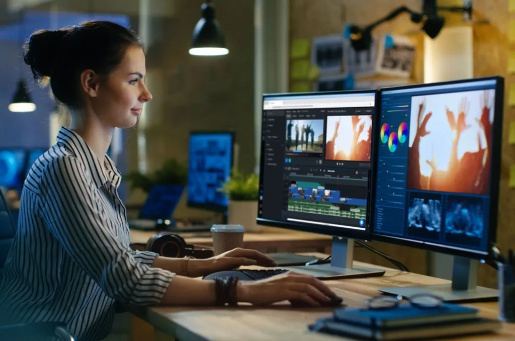 A professional video editor, using Libravid.io to edit her videos.