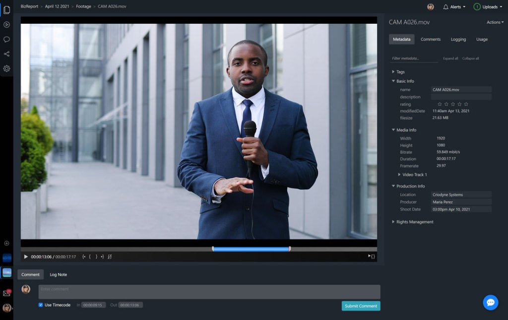Libravid.io video player, with metadata.