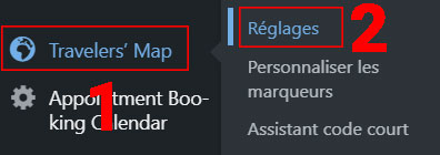 Réglages du plugin Traveler's Map