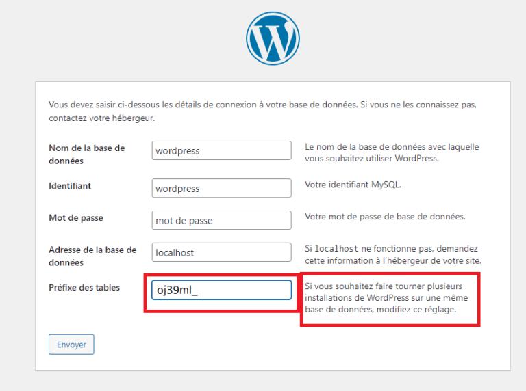 Exemple d'un préfixe WordPress plus sécurisé
