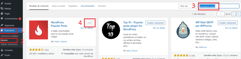 Installation et ictivation du plugin WordPress popular posts