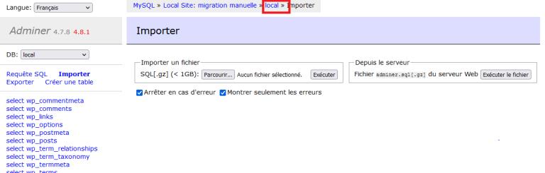 Zone import de la base de données en local