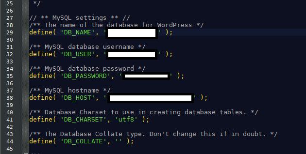 Identifiants du fichier wp-config.php