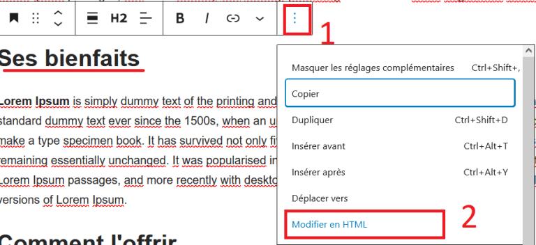 Modifier en html Gutenberg