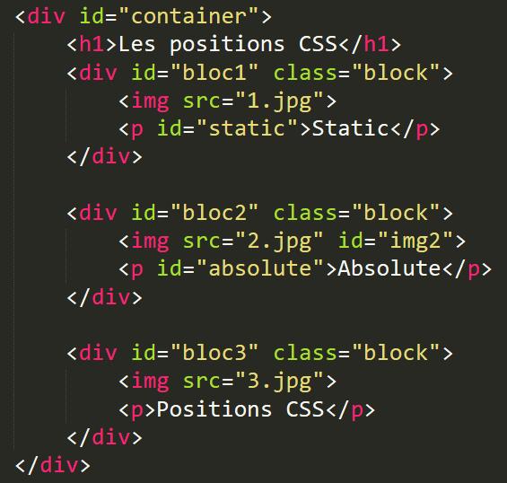 Position CSS : Exemple d'un code HTML avec un élément en position absolute