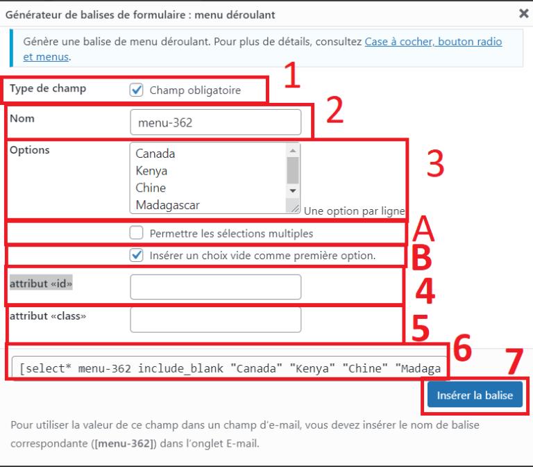 Contact form 7 : régler une liste déroulante