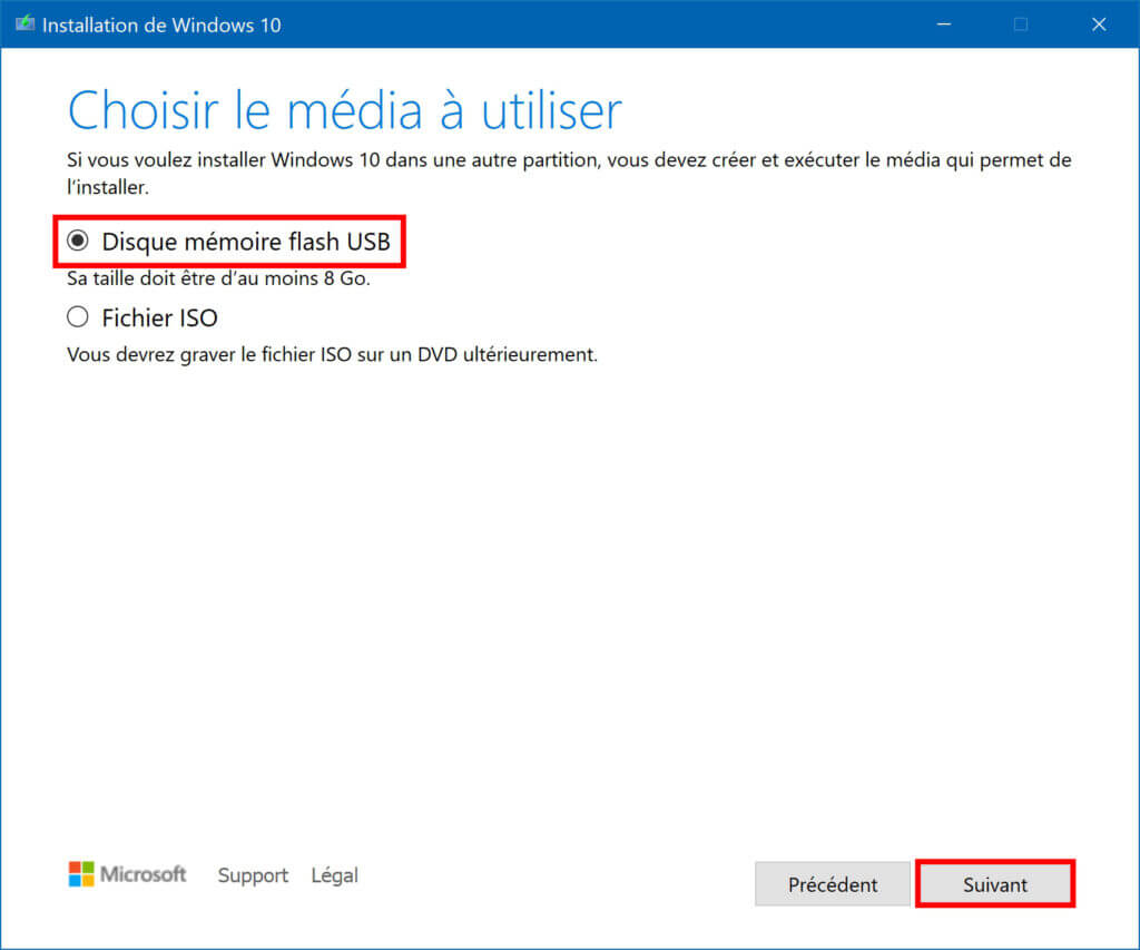Sélection des média à utiliser pour créer une clé USB d'Installation de Windows