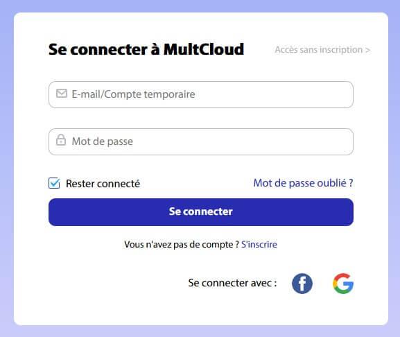 Formulaire de connexion à MultCloud