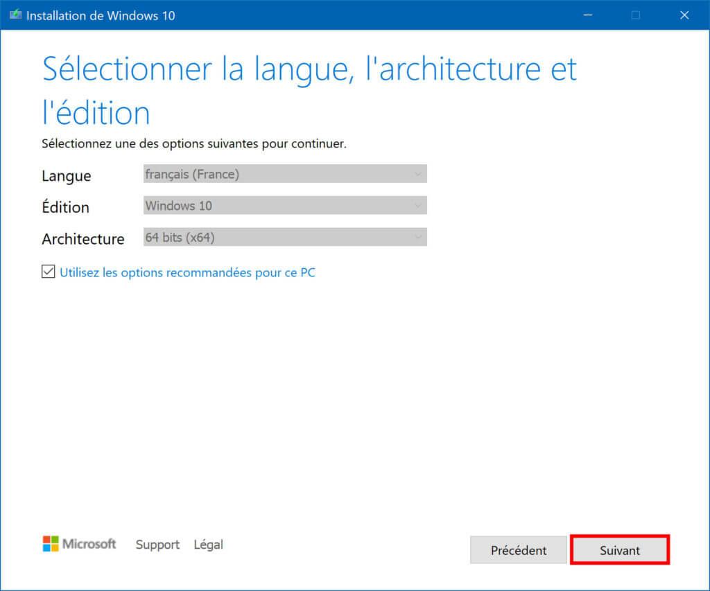 La sélection de langue du Système d'exploitation à utiliser