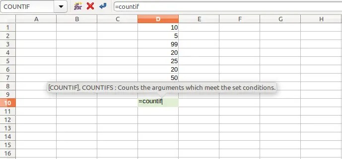 Count Cells with Strings, Numbers Using COUNTIF Function - Calc