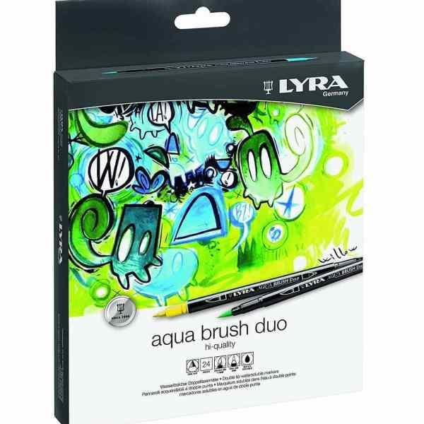 rotuladores lyra aqua brush duo caja 24 colores