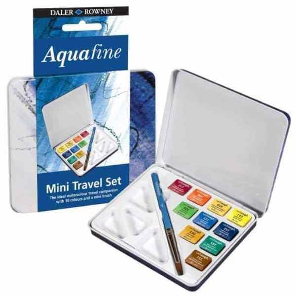 Acuarelas aquafine set de viaje daler rowney 10 medias pastillas