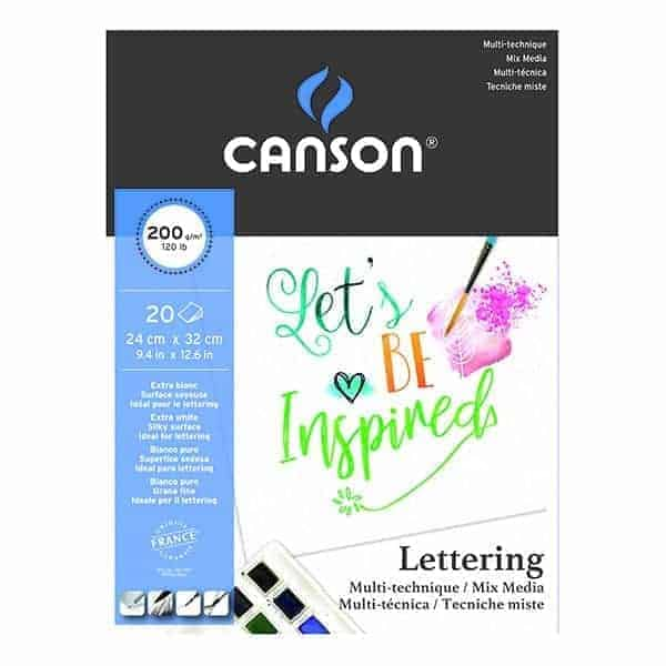 block de papel lettering mix media canson 20 hojas 200 grs - libreria elim
