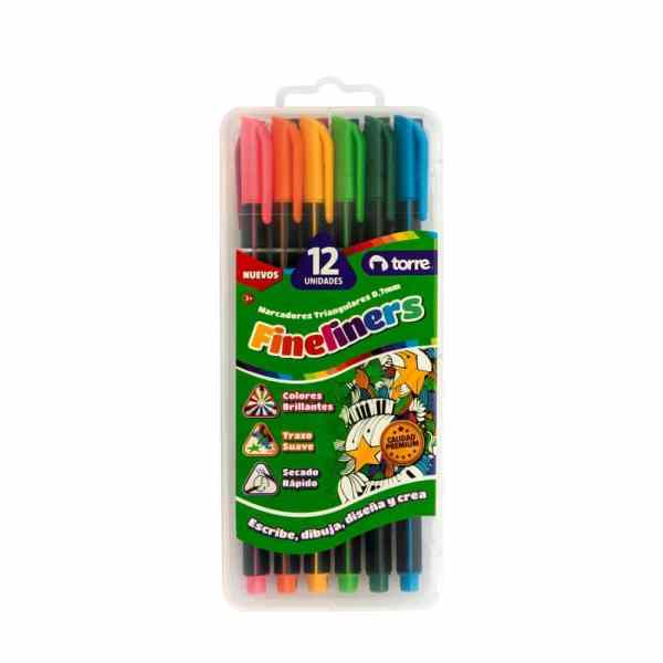 FINELINERS TORRE SET 12 COLORES 28330
