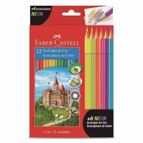 Lapices faber castell 12 colores + 6 colores neon