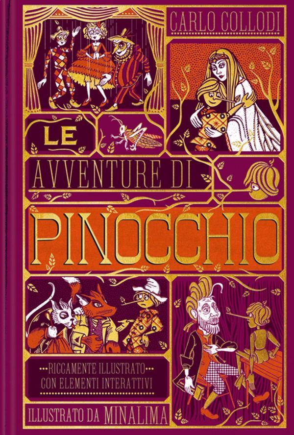 Copertina del Libro Pinocchio di Collodi illustrato da MinaLima