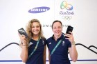 RIO DE JANEIRO, NEW ZEALAND - AUGUST 03: Alicia Blagg (L) and Rebecca Gallantree of Great Britain during a visit to the Samsung Galaxy Studio in the Olympic Village on August 3, 2016 in Rio de Janiero, Brazil. (Photo by Hagen Hopkins/Getty Images) *** Local Caption *** Alicia Blagg;Rebecca Gallantree