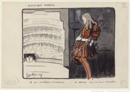 """Georges Grand dans """"Les femmes savantes"""", de Molière / dessin de Yves Marevéry"""