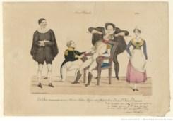 Comédie (Microc, Salam, hippocrata) Acte 3ème Scène dernière Théâtre Français : Scènes théâtrales 1825 : [estampe] / Félix [sig.]