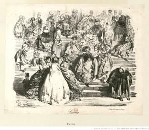 Lionnes (Sortie de la messe d'1 heure) : estampe de Gustave Doré