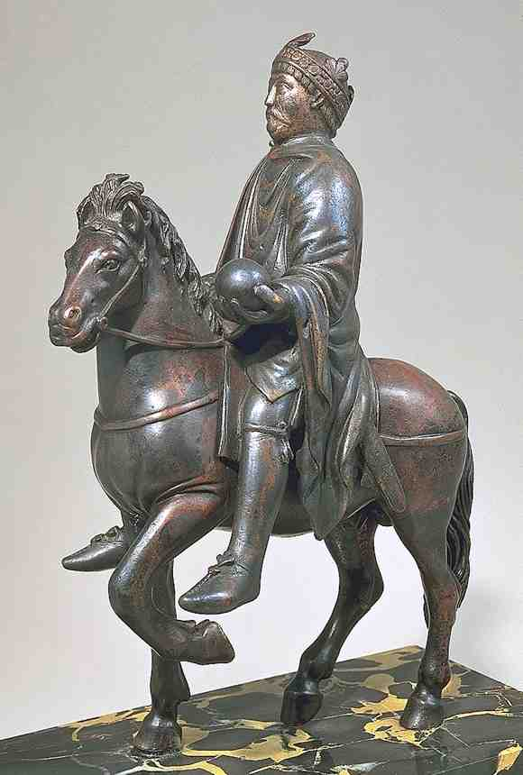 Equestrian statue: Charlemagne (or Charles the Bald), 9th century, Louvre, Paris.