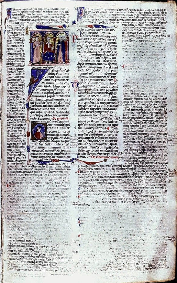 Council of Leon & accompanying text, Novellae of Pope Innocent IV, glossed by Bernardus Compostellanus Junior, MS 1. Syracuse University Library, Department of Special Collections.