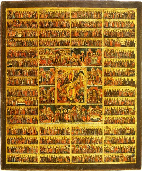 Menaion icon depicting the saints of the liturgical year