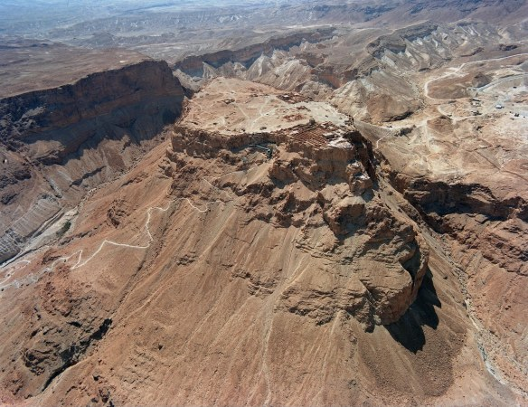 Aerial view of present day remains of Masada