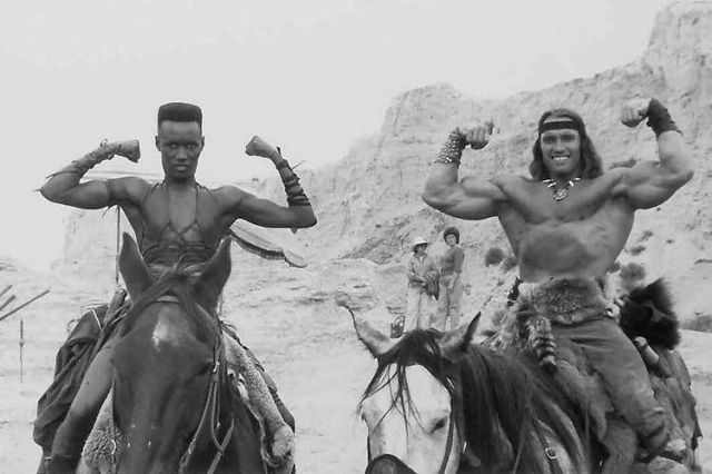 Grace Jones sul set di Conan il distruttore (1984) di Richard Fleischer