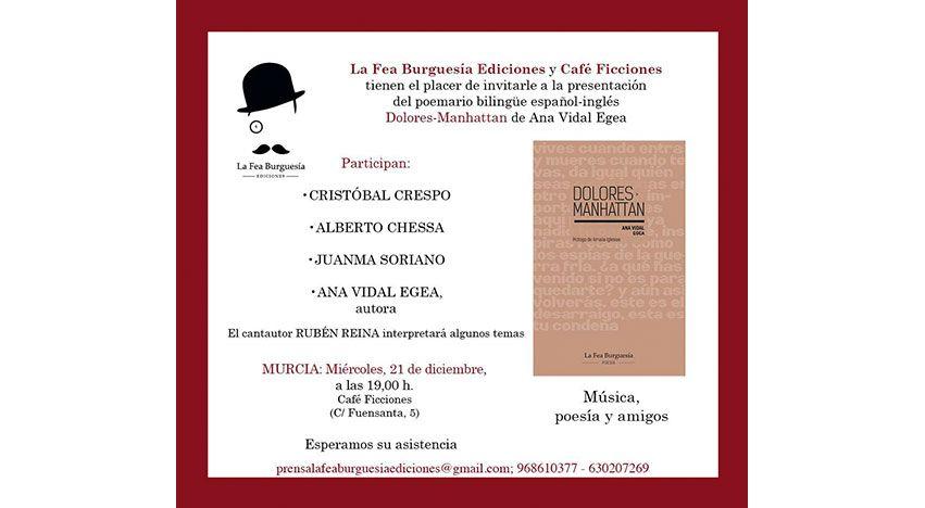 Presentación del poemario Dolores-Manhattan de La Fea Burguesía Ediciones en Murcia