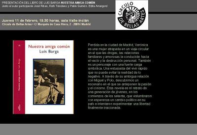 Presentación de la novela «Nuestra Amiga común»