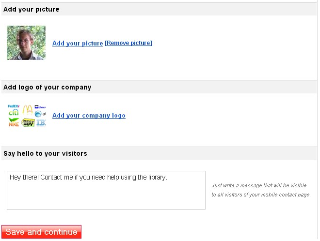 3. Add a picture of yourself or a company logo.  You can also enter a personalized message.