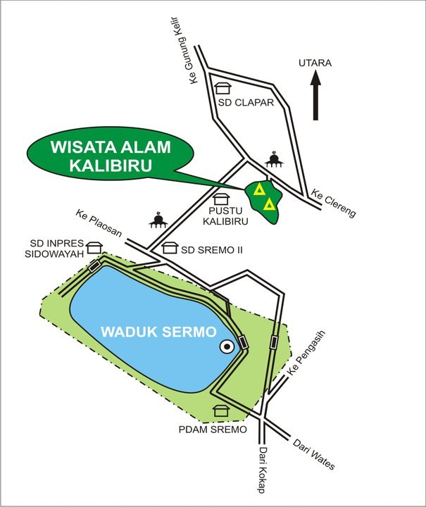 Map of the route to Kalibiru Tourism Village.
