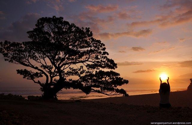 Senja sore hari di Pantai Pok Tunggal juga begitu menawan.