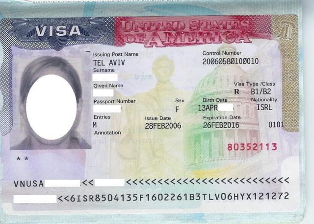 Contoh Visa Amerika